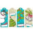 vintage christmas labels with snowman tree bells a vector image