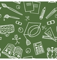 Back to school supplies doodles seamless pattern vector image