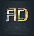a and d - initials or logo ad - metallic 3d icon vector image vector image