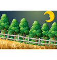 A forest with a sleeping moon vector image vector image