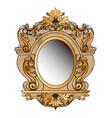 baroque golden mirror frame round decor vector image vector image