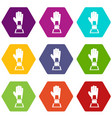 Baseball glove award icon set color hexahedron