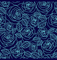 blue outline roses seamless pattern vector image vector image