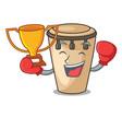 boxing winner conga mascot cartoon style vector image vector image