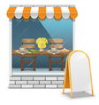 Cafe with Billboard vector image vector image