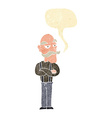 cartoon bored old man with speech bubble vector image vector image