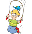 Cartoon boy using a jump rope vector image