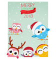 christmas background with owl vector image
