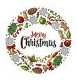 circle shape set for merry christmas vector image