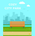 cozy city park with wooden banch vector image vector image