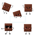 cute chocolate bar character set vector image vector image
