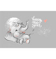 cute elephant with lettering happy new year vector image