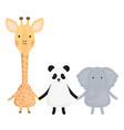 cute group animals childish characters vector image vector image