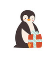 cute penguin sitting with wrapped gift box vector image vector image