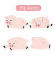 cute sleeping pig cartoon set vector image vector image
