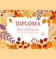 diploma template with autumn season foliage fall