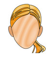 drawing head woman female face vector image vector image