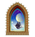 fantasy old medieval window and futuristic vector image