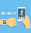 fitness app on screen smartphone vector image vector image