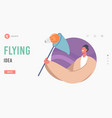 flying idea landing page template male character vector image vector image