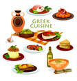 greek cuisine healthy lunch dishes cartoon icon vector image vector image