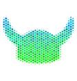 halftone blue-green horned helmet icon vector image vector image