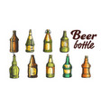 hand drawn blank color beer bottle set vector image