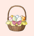 hand drawn easter basket with eggs vector image vector image