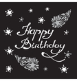 happy birthday lettering with hand drawn comet and vector image vector image