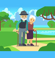 happy cartoon older female in love outdoors old vector image vector image