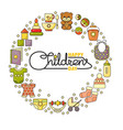 happy childrens day cute toys clothes and vector image vector image