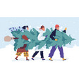 happy friends carrying christmas tree flat vector image vector image