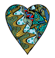 hearts in zentangle style vector image