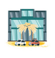 hotel building vacations days icon vector image