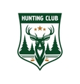 Hunting club badge design with deer head on shield vector image vector image