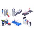 isometric airport passengers tourism flight vector image vector image