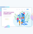isometric seo optimization and analytics team vector image