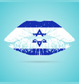 israel flag lipstick on the lips isolated on a vector image vector image