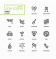leisure concept party - line design icons set vector image