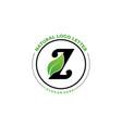 letter z with leaf logo green leaf logo icon vector image