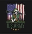 machine gun skull american army vector image vector image