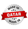 made in Qatar silver badge with red ribbon vector image vector image