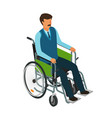 man sits in wheelchair invalid disabled cripple vector image vector image