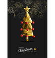 Merry christmas new year golden tree low poly vector image