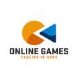 modern pacman online games logo vector image vector image