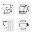 monochrome icon set mug beer vector image vector image