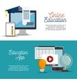 online education app banner design vector image