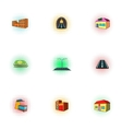 Public building icons set pop-art style vector image vector image