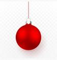 red christmas ball xmas glass ball on transparent vector image vector image