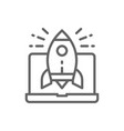 rocket launch from laptop startup line icon vector image